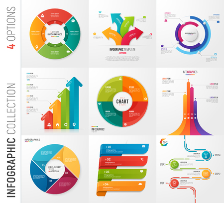 Infographic collection of 4 options vector templates Ilustração