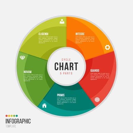 5 부분, 옵션, 프레젠테이션, 광고, 레이아웃, 연례 보고서를위한 단계가있는 순환 차트 인포 그래픽 템플릿