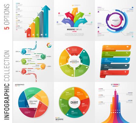 5 옵션 벡터 템플릿의 Infographic 컬렉션 일러스트