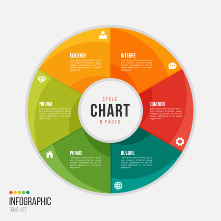 Cycle chart infographic template with 6 parts, options, steps for presentations, advertising, layouts, annual reports Illusztráció