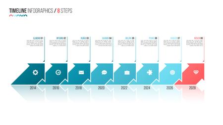 Pijlen gevormd tijdlijn infographic sjabloon. 8 stappen, opties, processen Vector illustratie