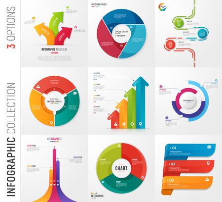 Infographic verzameling van 3 opties vector sjablonen. Vector Illustratie