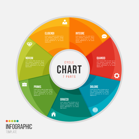 Cycle chart infographic template with 7 parts, options. Illustration