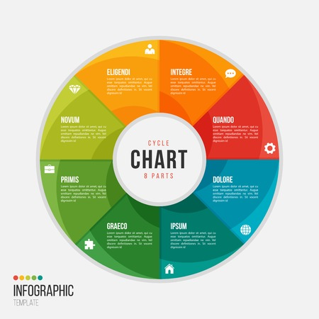 Cycle chart infographic template with 8 parts, options,.