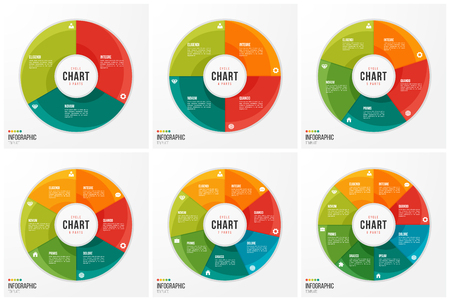 Cycle chart infographic templates with 3 4 5 6 7 8 parts. Illustration
