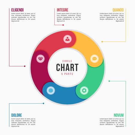 6 부분, 프로세스, 단계가있는 원형 차트 infographic 템플릿