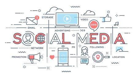 Social media, network, video, marketing thin line concept.