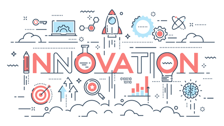 Innovation, new ideas, creativity and technology thin line conce