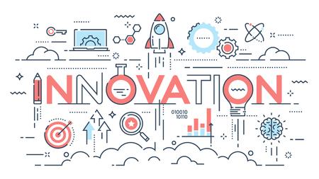 Innowacja, nowe pomysły, kreatywność i technologia cienka linia