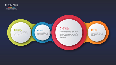 Vector 4 options infographic design, presentation template. Global swatches