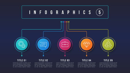 Vector 5 options infographic design, structure chart, presentation template. Editable stroke and global swatches.