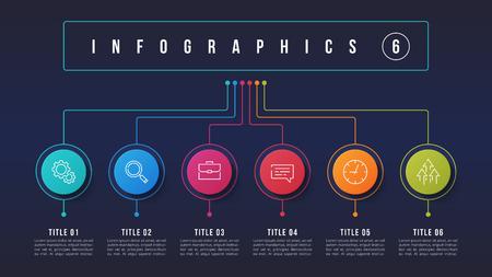 Conception infographique de vecteur 6 options, structure graphique, modèle de présentation. Coupes modifiables et échantillons globaux.