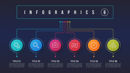 Vector 6 options infographic design, structure chart, presentation template. Editable stroke and global swatches.