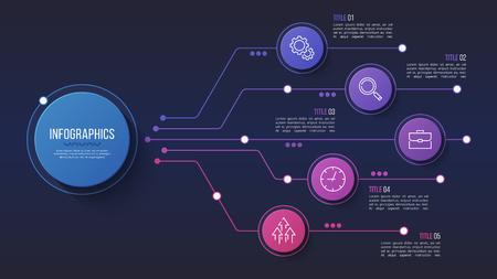 ベクトル5オプションインフォグラフィックデザイン、構造チャート、プレゼンテーション。