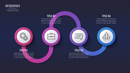 Vector 4 steps infographic design, timeline chart, presentation template. Global swatches Illustration