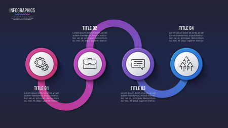 Vector 4 steps infographic design, timeline chart, presentation template. Global swatches Ilustrace