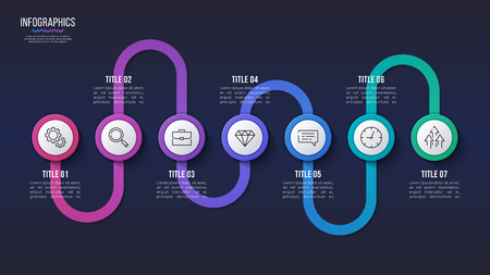 Vector 7 steps infographic design, timeline chart, presentation template. Global swatches 일러스트