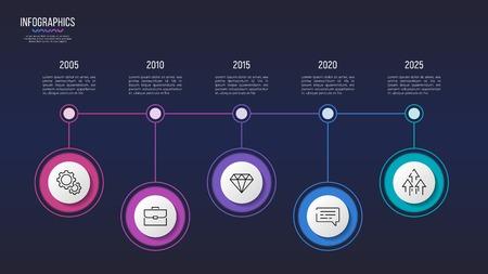 Vector 5 stappen infographic ontwerp, tijdlijngrafiek, presentatiemalplaatje. Globaal stalen Stock Illustratie