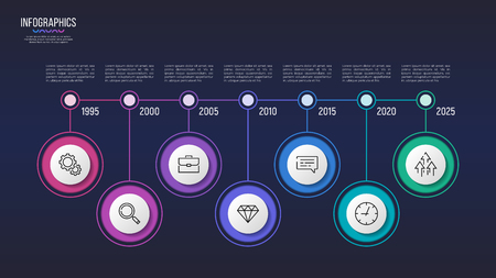 Vector 7 steps infographic design, timeline chart, presentation template. Global swatches  イラスト・ベクター素材