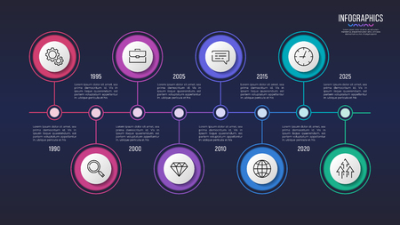 Vector 8 steps infographic design, timeline chart, presentation template. Global swatches Ilustrace