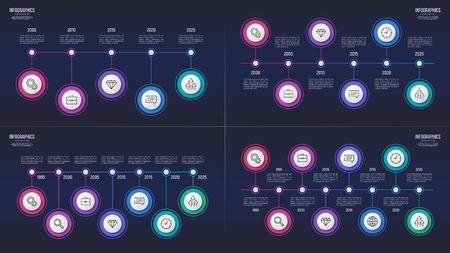 Vector 5 6 7 8 stappen infographic ontwerpen, tijdlijngrafieken, presentatiesjablonen. Globaal stalen