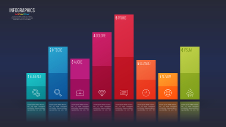 Easy editable vector 8 options infographic design, bar chart, pr Ilustrace
