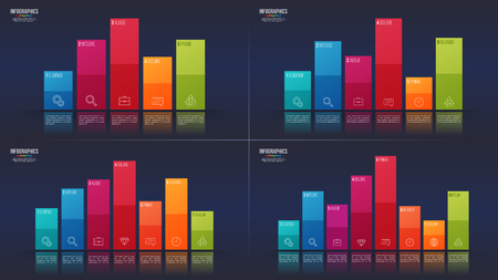 Easy editable vector in 5, 6, 7,8 options infographic designs, bar charts, presentation templates. Global swatches.