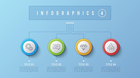 4 Optionen Infografik Design, Strukturdiagramm, Präsentationsvorlage. Bearbeitbarer Strich und globale Farbfelder. Standard-Bild - 93268423