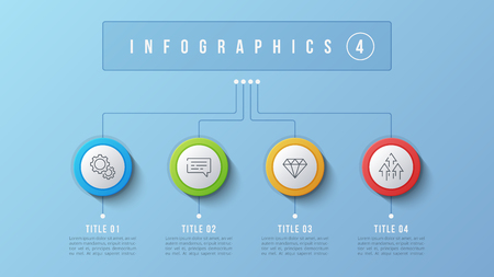4 options infographic design, structure chart, presentation template. Editable stroke and global swatches.