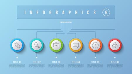 Vector 6 options infographic design, structure chart, presentati Ilustrace