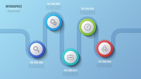 Vector 5 steps timeline chart, infographic design, presentation