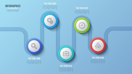 Vector 5 steps timeline chart, infographic design, presentation