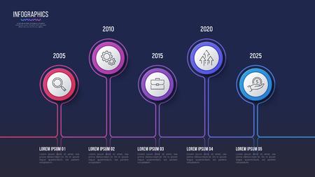 Vector 5 stappen infographic ontwerp, tijdlijngrafiek, presentatie Stock Illustratie