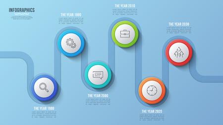 Vector 6 steps timeline chart, infographic design, presentation
