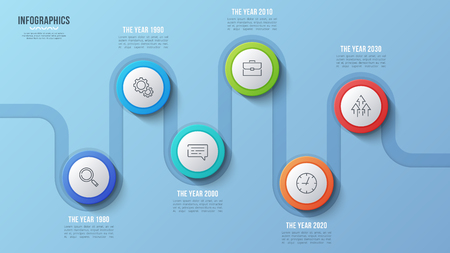 Vector 6 steps timeline chart, infographic design, presentation