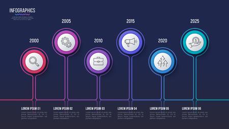 Vector 6 steps infographic design, timeline chart, presentation 向量圖像