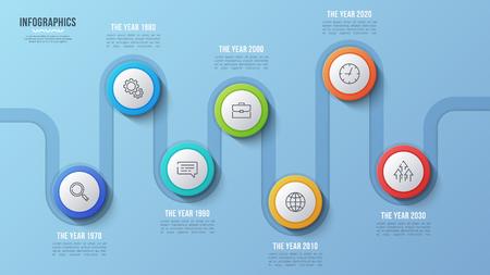 ベクトル7ステップタイムラインチャート、インフォグラフィックデザイン、プレゼンテーション  イラスト・ベクター素材