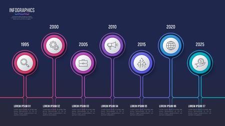 Vector 7 steps infographic design, timeline chart, presentation Çizim