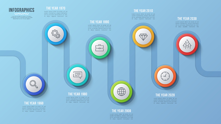 Vector 8 steps timeline chart, infographic design, presentation template. Global swatches Illustration