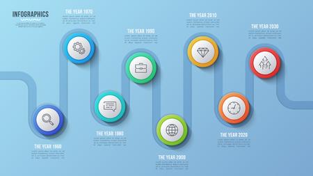 Vector 8 stappen tijdlijn grafiek, infographic ontwerp, presentatiesjabloon. Globaal stalen Stock Illustratie