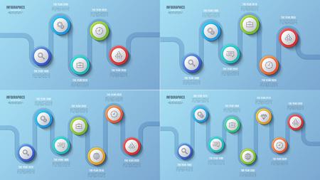Vector stappen tijdlijn grafieken, infographic ontwerpen.