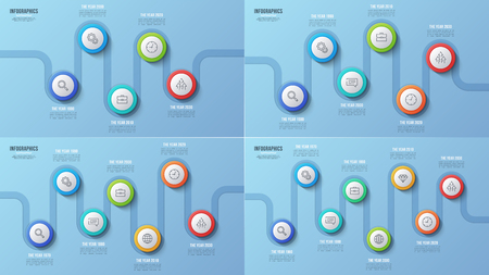 Vector steps timeline charts, infographic designs.