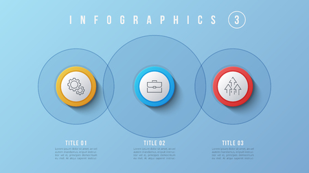 Vector 3 options infographic design, presentation template.  Editable stroke and global swatches.