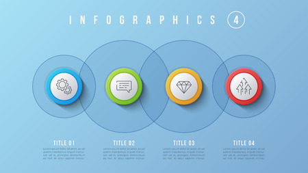 Vector 4 options infographic design, presentation template. Editable stroke and global swatches.