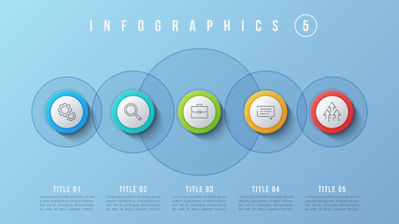 5 options infographics design, presentation vector template. Editable stroke and global swatches. 向量圖像