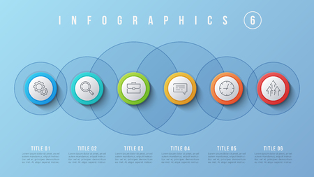 Vector 6 options infographic design, presentation template. Editable stroke and global swatches. Ilustração