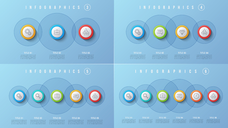 Vector 3 4 5 6 options infographic designs, presentation templates. Editable stroke and global swatches.