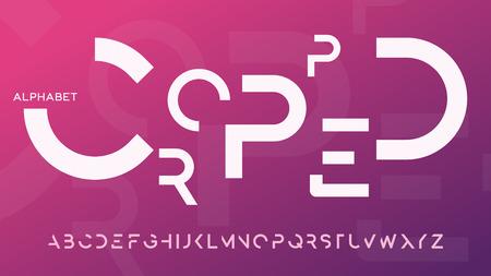 Minimalist cropped regular futuristic decorative sans serif typeface design. Vector alphabet, letters, font, typography. Illustration