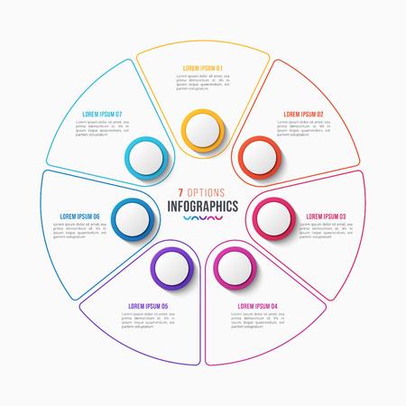 벡터 7 부분 infographic 디자인, 원형 차트, 흰색 배경에 프레 젠 테이 션 서식 파일. 글로벌 견본.