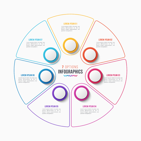 Vector 7 parts infographic design, circle chart, presentation template on white background. Global swatches. Illustration